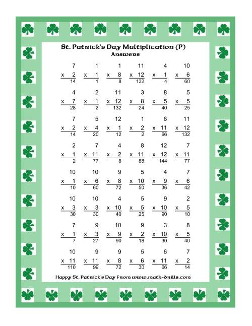 The St. Patrick's Day Multiplication Facts to 144 -- Shamrock Border Theme (P) Math Worksheet Page 2