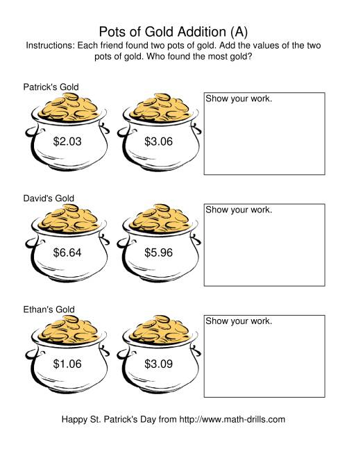 The St. Patrick's Day Adding Money to $20.00 -- Pots of Gold (A) St. Patrick's Day Math Worksheet
