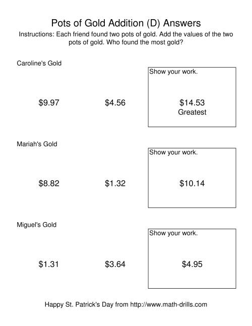 The St. Patrick's Day Adding Money to $20.00 -- Pots of Gold (D) Math Worksheet Page 2