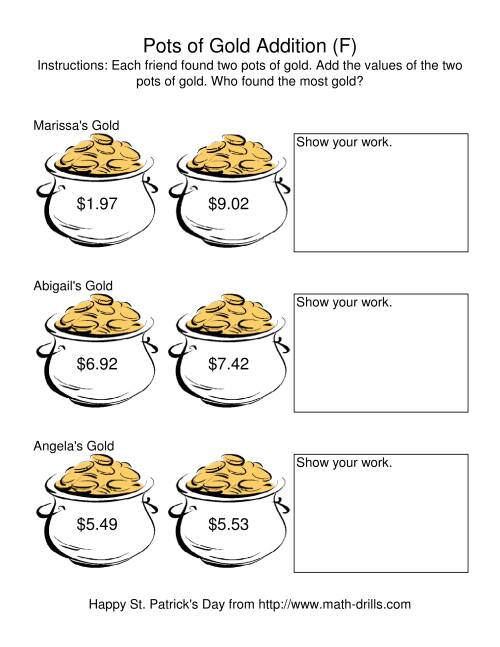 The St. Patrick's Day Adding Money to $20.00 -- Pots of Gold (F) Math Worksheet