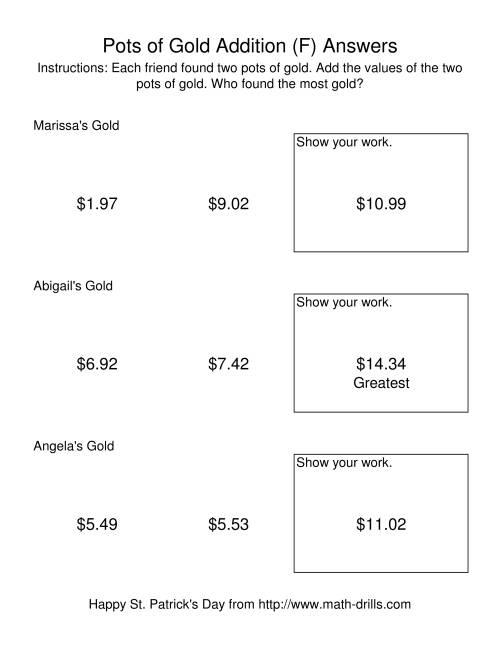 The St. Patrick's Day Adding Money to $20.00 -- Pots of Gold (F) Math Worksheet Page 2