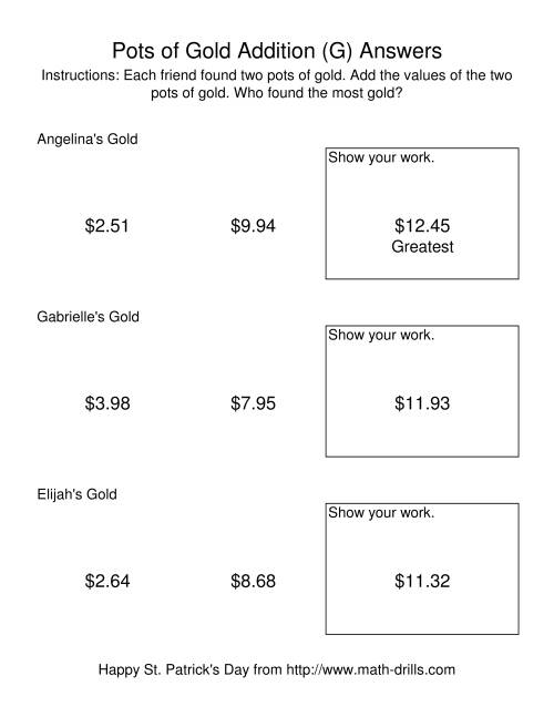 The St. Patrick's Day Adding Money to $20.00 -- Pots of Gold (G) Math Worksheet Page 2