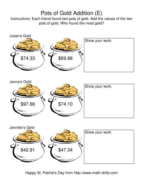 The St. Patrick's Day Adding Money to $200.00 -- Pots of Gold (E) Math Worksheet