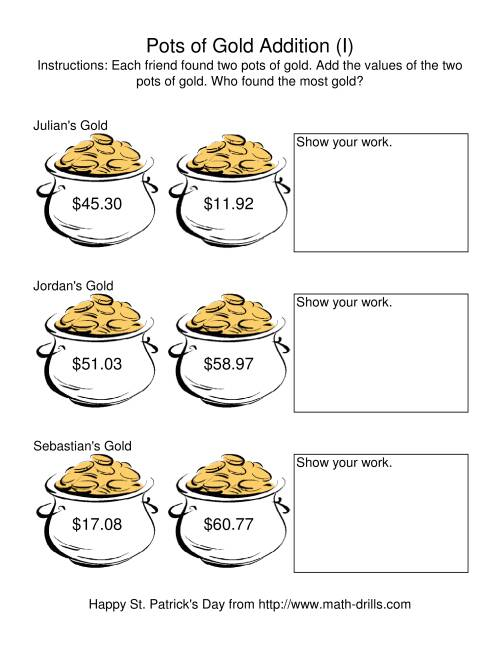 The St. Patrick's Day Adding Money to $200.00 -- Pots of Gold (I) Math Worksheet