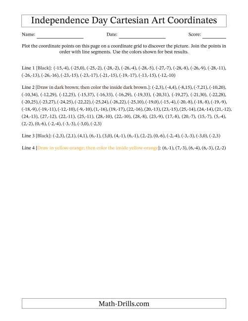 The US Independence Day Cartesian Art Flying Bald Eagle Math Worksheet Page 2