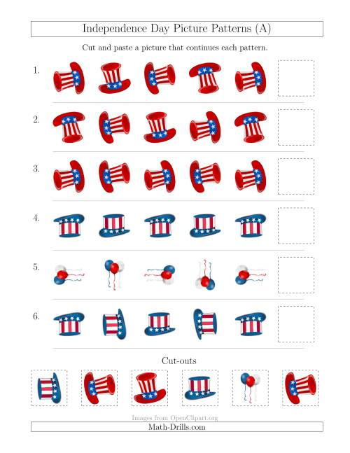 The Independence Day Picture Patterns with Rotation Attribute Only (A) Math Worksheet