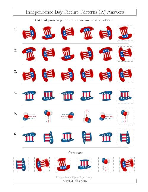 The Independence Day Picture Patterns with Rotation Attribute Only (A) Math Worksheet Page 2
