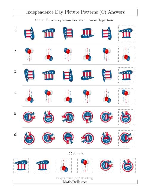 The Independence Day Picture Patterns with Rotation Attribute Only (C) Math Worksheet Page 2