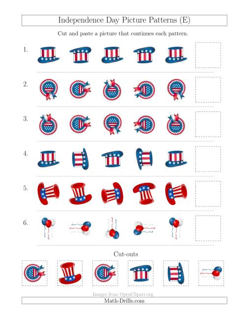 The Independence Day Picture Patterns with Rotation Attribute Only (E) Math Worksheet