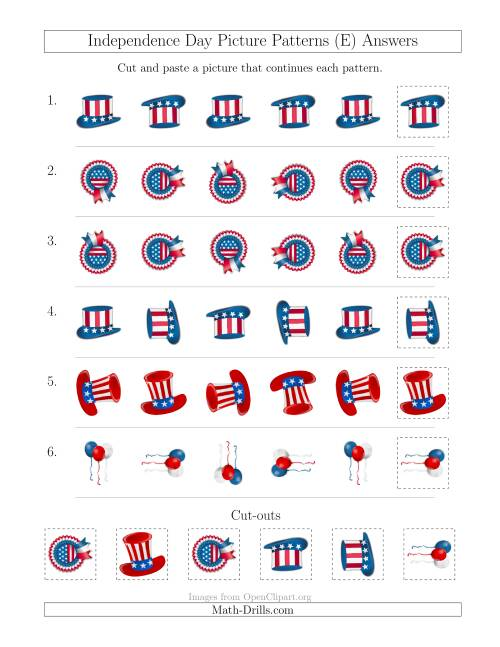 The Independence Day Picture Patterns with Rotation Attribute Only (E) Math Worksheet Page 2