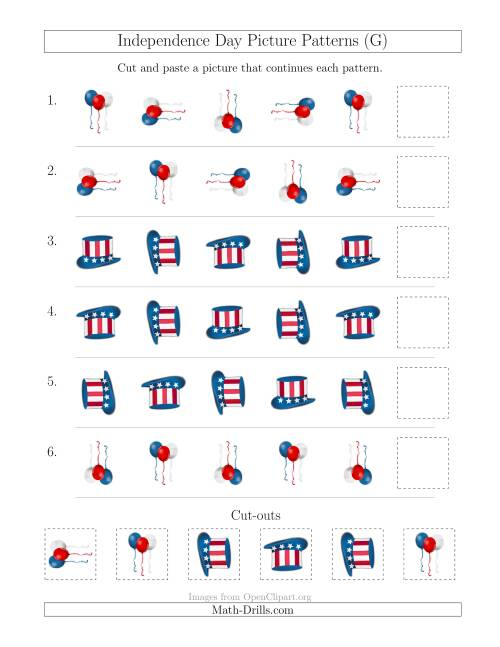 The Independence Day Picture Patterns with Rotation Attribute Only (G) Math Worksheet