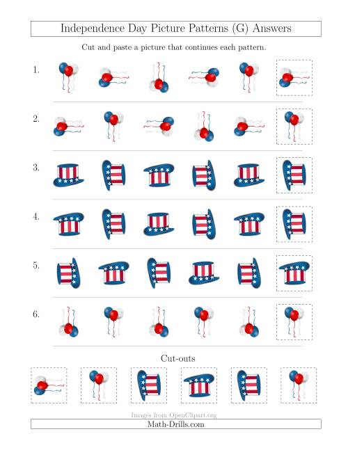 The Independence Day Picture Patterns with Rotation Attribute Only (G) Math Worksheet Page 2