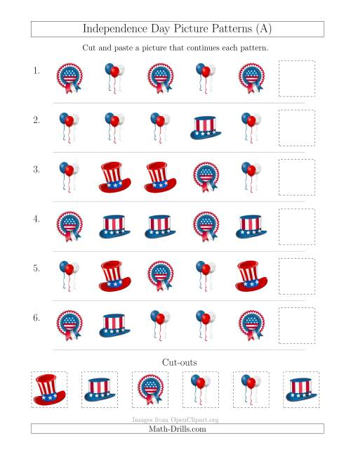 The Independence Day Picture Patterns with Shape Attribute Only (A) Holiday Math Worksheet