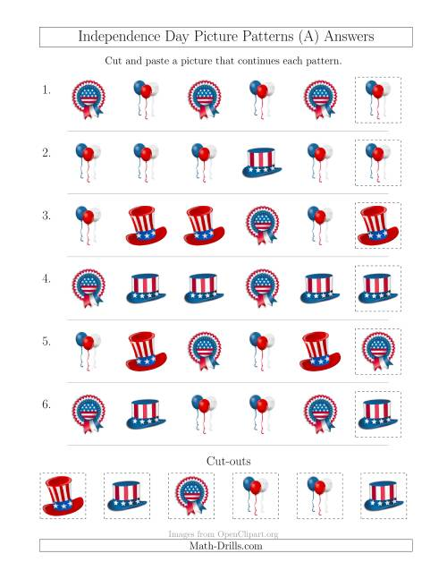 The Independence Day Picture Patterns with Shape Attribute Only (A) Math Worksheet Page 2