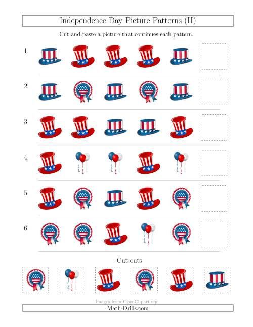The Independence Day Picture Patterns with Shape Attribute Only (H) Math Worksheet