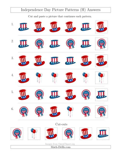 The Independence Day Picture Patterns with Shape Attribute Only (H) Math Worksheet Page 2
