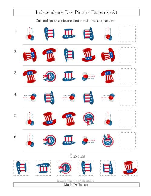 The Independence Day Picture Patterns with Shape and Rotation Attributes (A) Math Worksheet