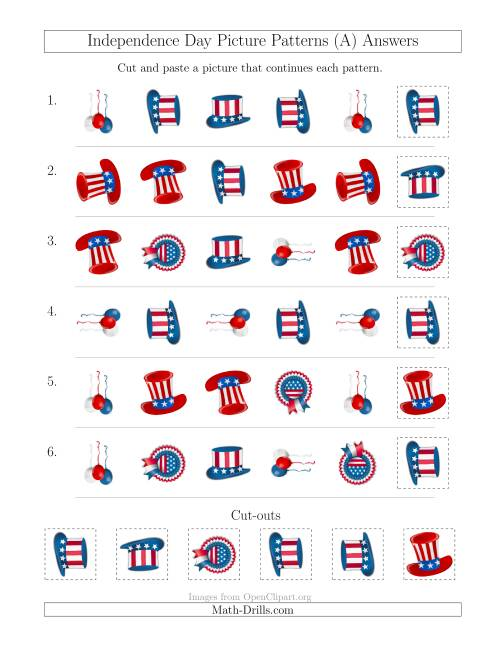 The Independence Day Picture Patterns with Shape and Rotation Attributes (A) Math Worksheet Page 2