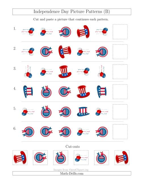 The Independence Day Picture Patterns with Shape and Rotation Attributes (B) Math Worksheet