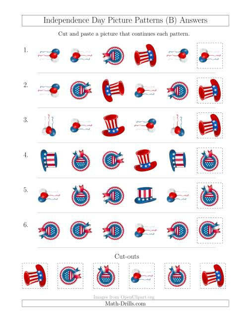The Independence Day Picture Patterns with Shape and Rotation Attributes (B) Math Worksheet Page 2