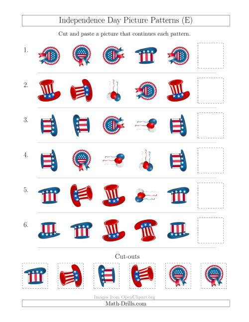 The Independence Day Picture Patterns with Shape and Rotation Attributes (E) Math Worksheet