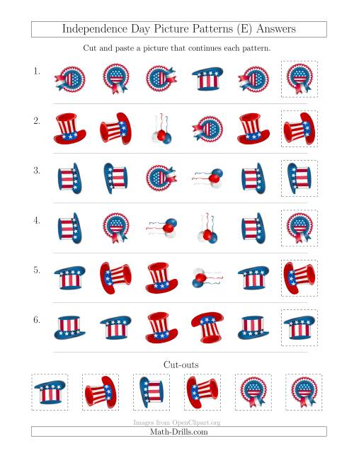 The Independence Day Picture Patterns with Shape and Rotation Attributes (E) Math Worksheet Page 2
