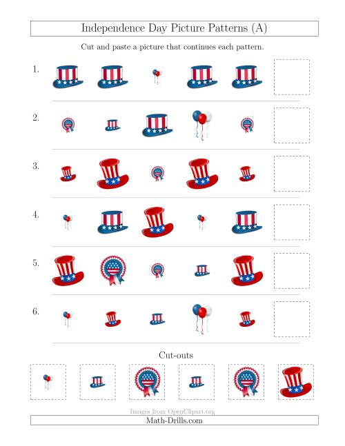 math worksheet : independence day picture patterns with shape and size attributes  : Pattern Math Worksheets