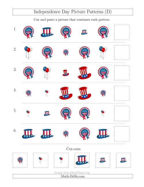 The Independence Day Picture Patterns with Shape and Size Attributes (D) Math Worksheet
