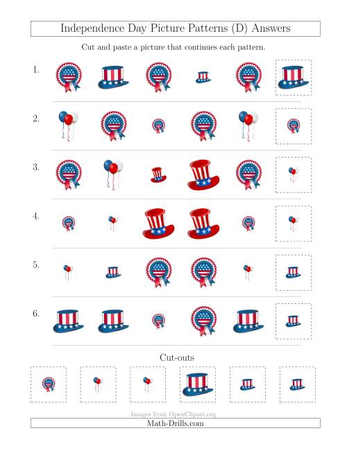The Independence Day Picture Patterns with Shape and Size Attributes (D) Math Worksheet Page 2