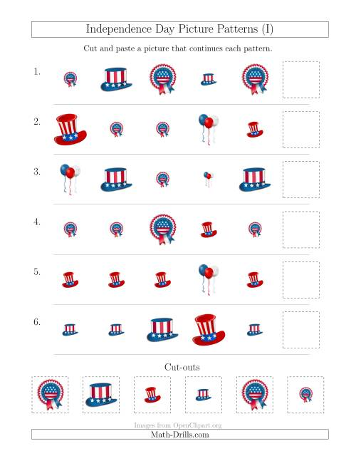 The Independence Day Picture Patterns with Shape and Size Attributes (I) Math Worksheet