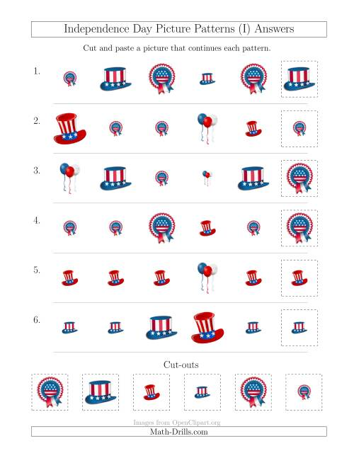 The Independence Day Picture Patterns with Shape and Size Attributes (I) Math Worksheet Page 2