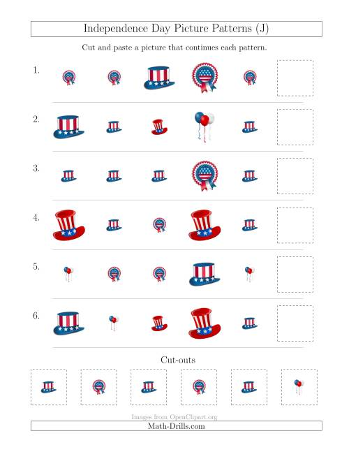 The Independence Day Picture Patterns with Shape and Size Attributes (J) Math Worksheet