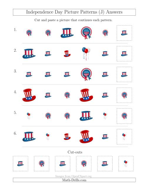 The Independence Day Picture Patterns with Shape and Size Attributes (J) Math Worksheet Page 2
