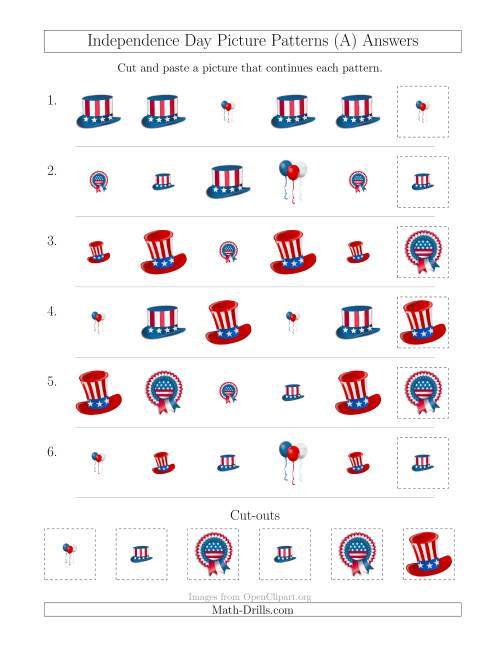 The Independence Day Picture Patterns with Shape and Size Attributes (All) Math Worksheet Page 2