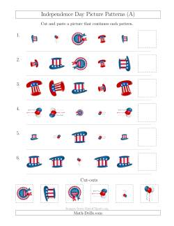 Independence Day Picture Patterns with Shape, Size and Rotation Attributes (A)