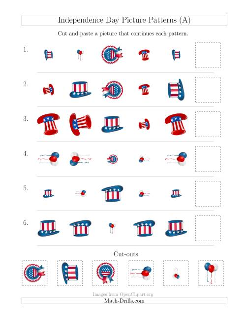 The Independence Day Picture Patterns with Shape, Size and Rotation Attributes (A) Holiday Math Worksheet