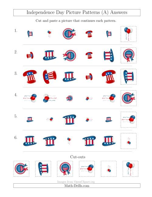 The Independence Day Picture Patterns with Shape, Size and Rotation Attributes (A) Math Worksheet Page 2