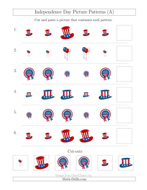 The Independence Day Picture Patterns with Size Attribute Only (A) Math Worksheet
