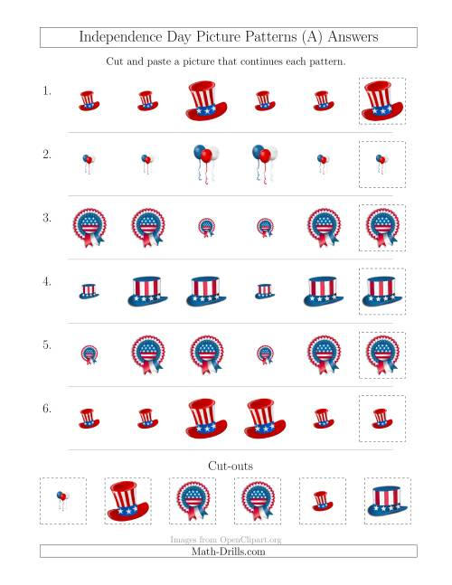 The Independence Day Picture Patterns with Size Attribute Only (A) Math Worksheet Page 2