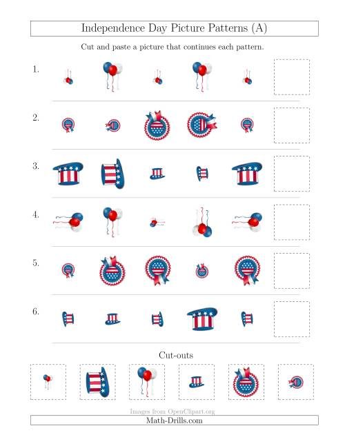 The Independence Day Picture Patterns with Size and Rotation Attributes (A) Math Worksheet