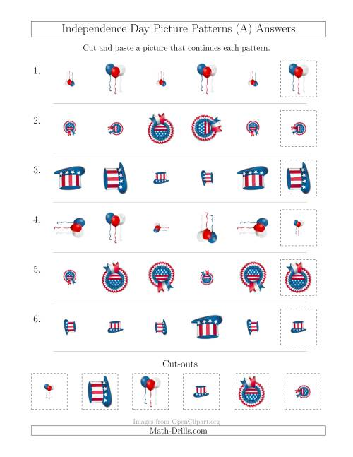The Independence Day Picture Patterns with Size and Rotation Attributes (A) Math Worksheet Page 2