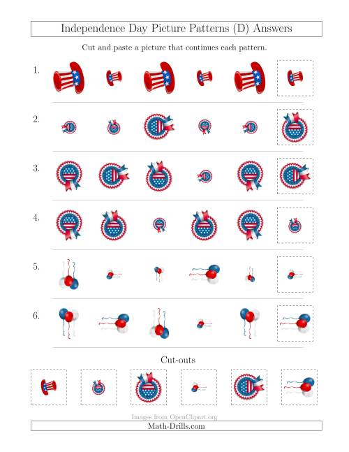 Independence Day Picture Patterns With Size And Rotation Attributes D