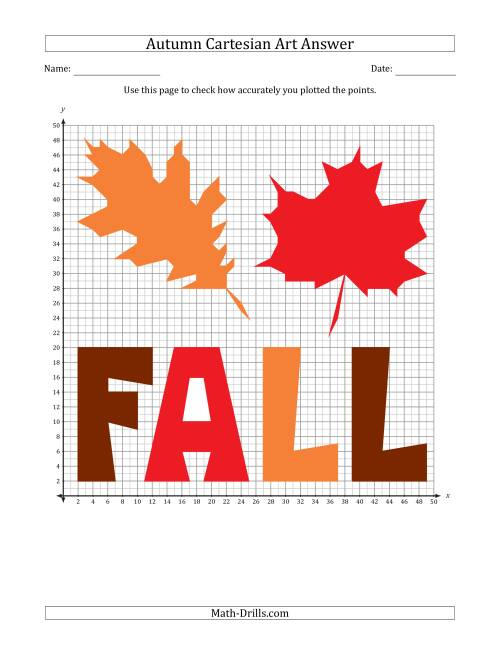 Autumn Cartesian Art Fall Leaf Design (One Quadrant)