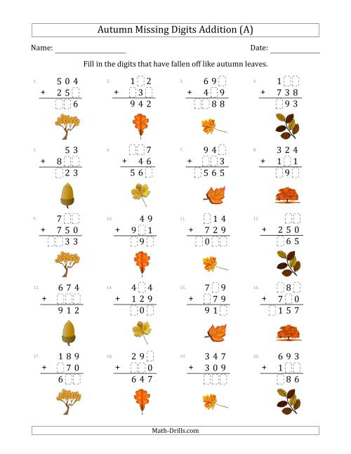 The Autumn Missing Digits Addition (Easier Version) (A) Math Worksheet