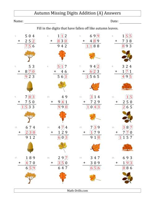 The Autumn Missing Digits Addition (Easier Version) (A) Math Worksheet Page 2