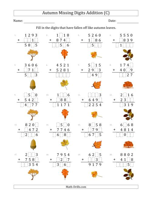 The Autumn Missing Digits Addition (Harder Version) (C) Math Worksheet