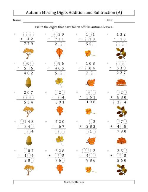 The Autumn Missing Digits Addition and Subtraction (Easier Version) (A) Math Worksheet