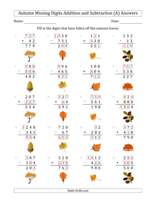 The Autumn Missing Digits Addition and Subtraction (Easier Version) (A) Math Worksheet Page 2