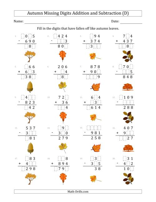The Autumn Missing Digits Addition and Subtraction (Easier Version) (D) Math Worksheet
