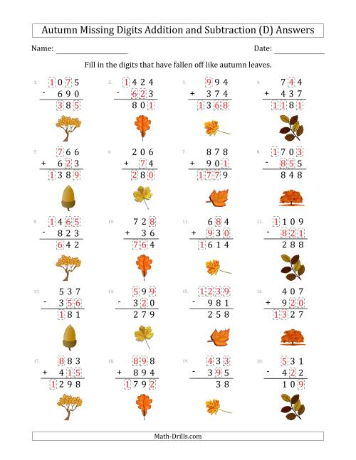 The Autumn Missing Digits Addition and Subtraction (Easier Version) (D) Math Worksheet Page 2